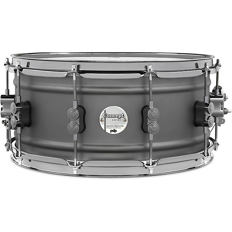 PDP by DW Concept Series Gun Metal Over Steel Snare Drum with Black Nickel Hardware 14 x 6.5 in.