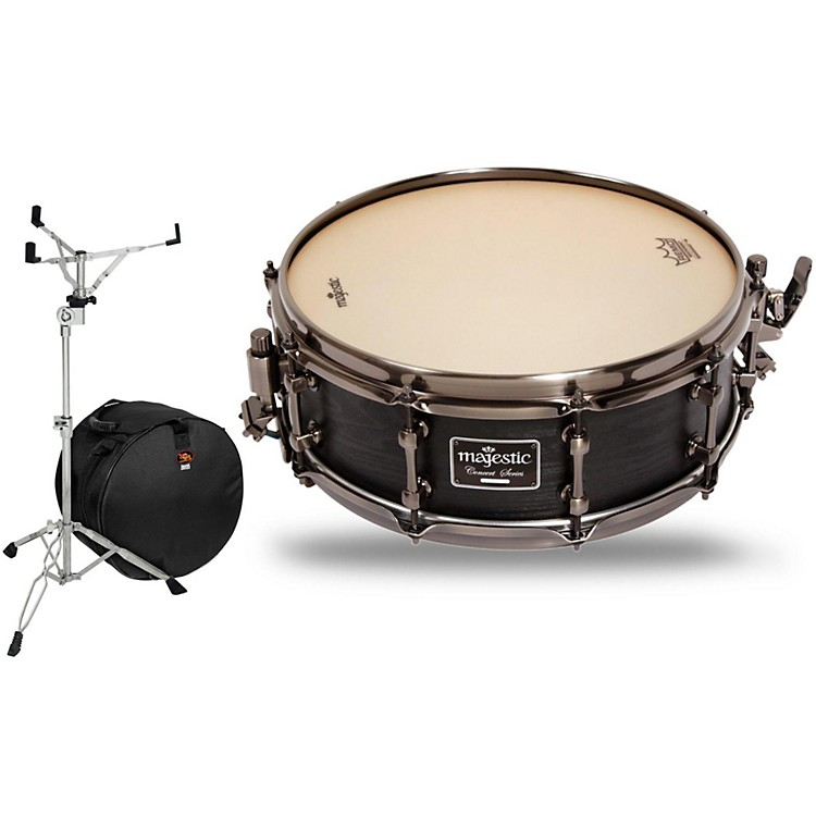 Majestic Concert Black Maple Snare Drum with Stand and Free Bag 14 x 5 in.