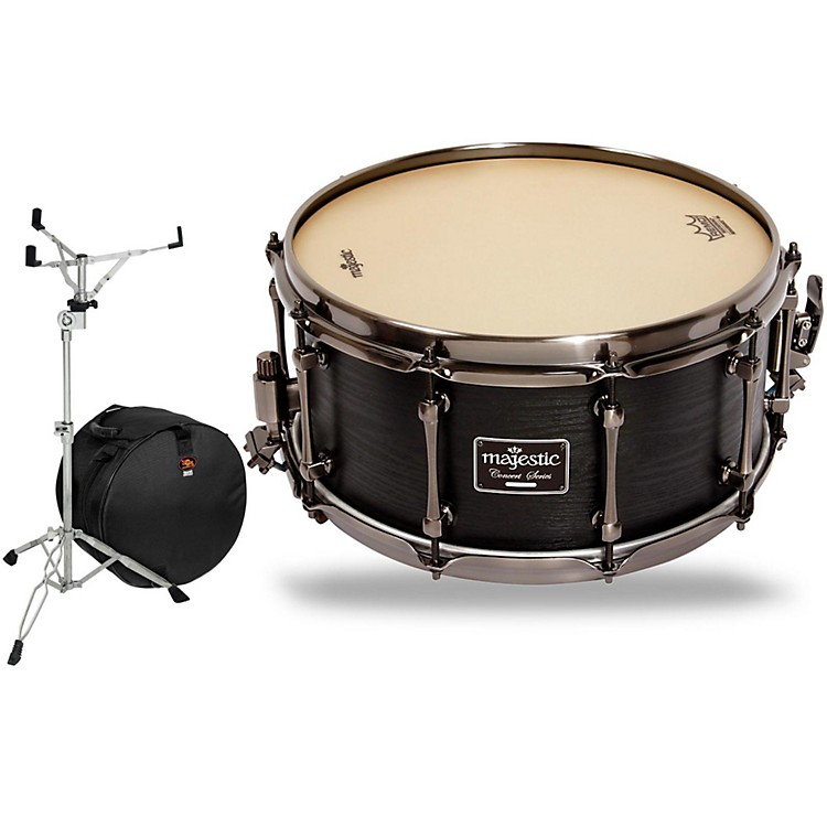 Majestic Concert Black Maple Snare Drum with Stand and Free Bag 14 x 6.5 in.