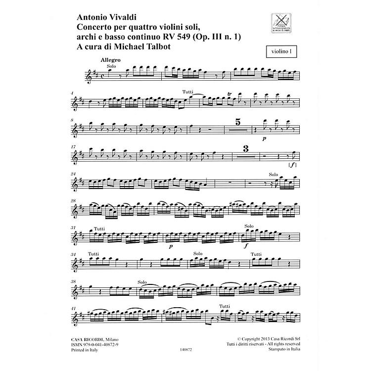 RicordiConcerto D Major 4 Violins Strings Continuo Rv549 (op. 3, No. 1) Parts String Orchestra by Vivaldi