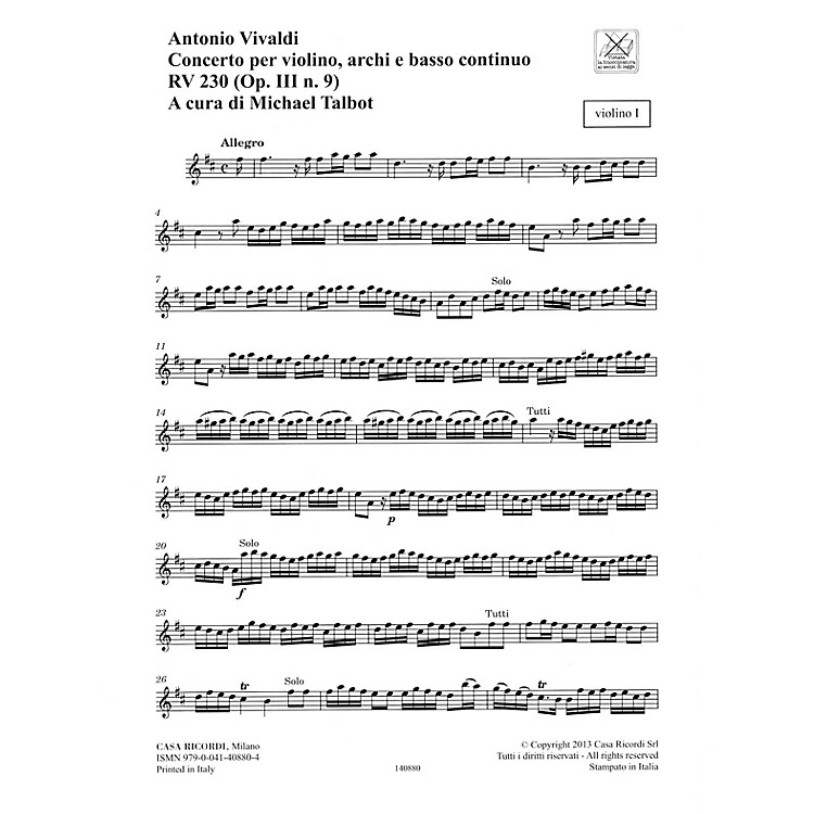 RicordiConcerto D Major, RV 230, Op. III, No. 9 String Orchestra Series Softcover Composed by Antonio Vivaldi