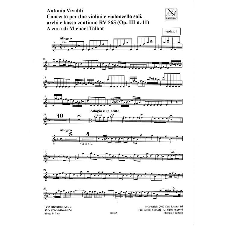RicordiConcerto D Minor, RV 565, Op. III, No. 11 String Orchestra Series Softcover Composed by Antonio Vivaldi
