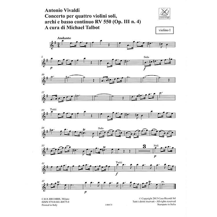 RicordiConcerto E Minor, RV 550, Op. III, No. 4 String Orchestra Series Softcover Composed by Antonio Vivaldi