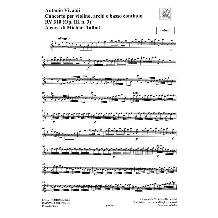 RicordiConcerto G Major, RV 310, Op. III, No. 3 String Orchestra Series Softcover Composed by Antonio Vivaldi