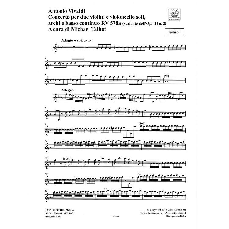 RicordiConcerto G Minor, RV 578, Op. III, No. 2 String Orchestra Series Softcover Composed by Antonio Vivaldi