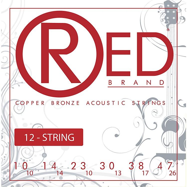 Red StringsCopper Bronze 12-String Acoustic Guitar Strings Light