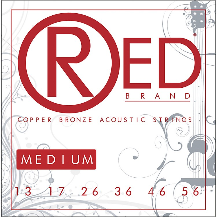 Red Strings Copper Bronze Acoustic Guitar Strings - Medium