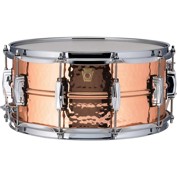 Ludwig Copper Phonic Hammered Snare Drum 14 x 6.5 in. Copper Finish with Imperial Lugs