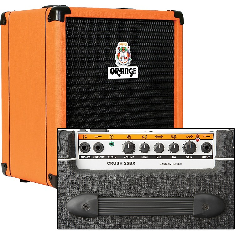 Orange Amplifiers Crush PiX CR25BX 25W 1x8 Bass Combo Amp Orange