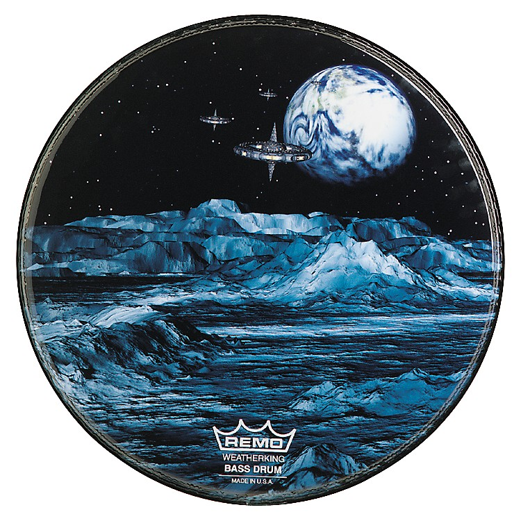 RemoCustom Graphic Blue Moon Resonant Bass Drum Head20 in.