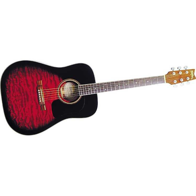 washburn d10qsb sunburst quilt top dreadnought acoustic guitar w case music123. Black Bedroom Furniture Sets. Home Design Ideas