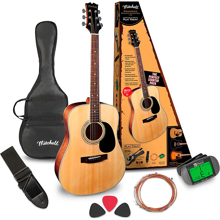 MitchellD120PK Acoustic Guitar Value PackageNatural
