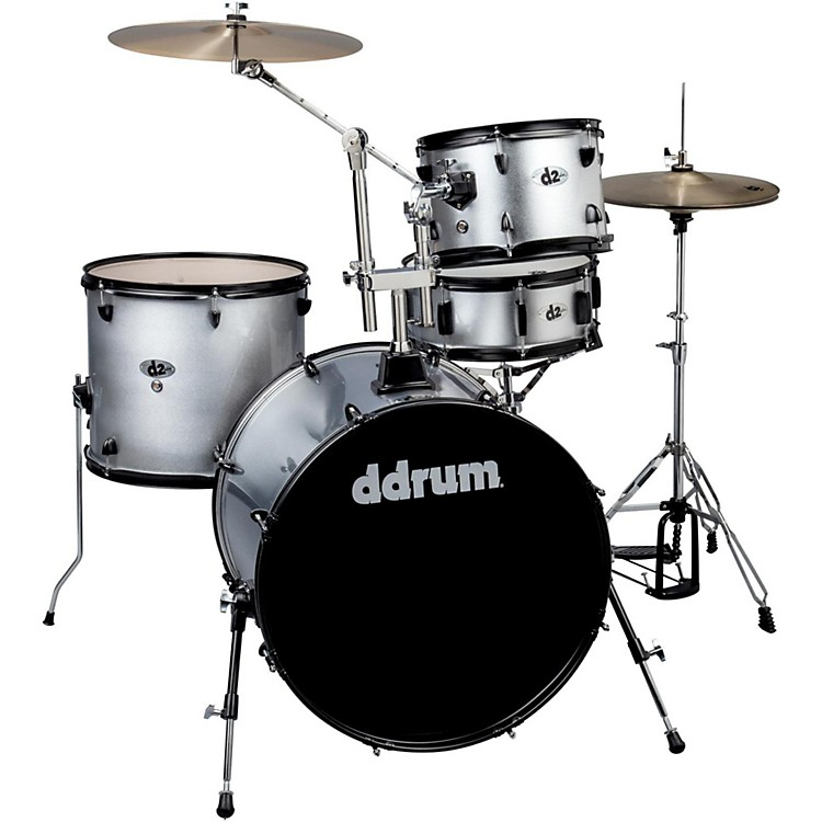 Ddrum D2 4-Piece Drum Set Silver Sparkle Black Hardware