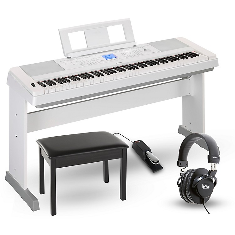 Yamaha DGX660 88-Key Portable Grand Piano Packages White Home Package