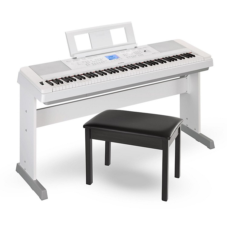 yamaha dgx660 88 key portable grand piano white with bench. Black Bedroom Furniture Sets. Home Design Ideas