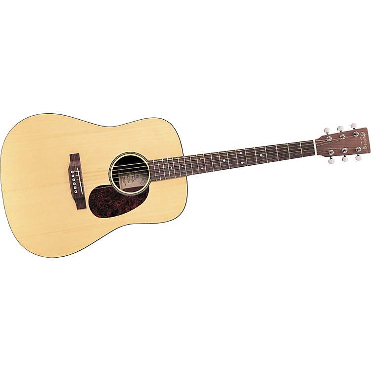 The Martin DM Dreadnought Acoustic Guitar has a solid spruce top with a single-band herringbone rosette wedded to laminated mahogany back and sides with black bindings, and a tortoise-colored pickguard. Limited lifetime warranty.