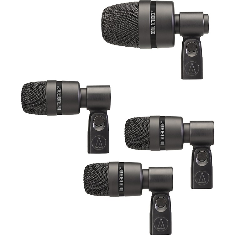 digital reference dr drm4 4 piece drum microphone kit with case music123. Black Bedroom Furniture Sets. Home Design Ideas