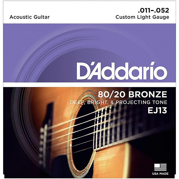 D'AddarioDaddario EJ13 80/20 Bronze Custom Light Acoustic Guitar Strings