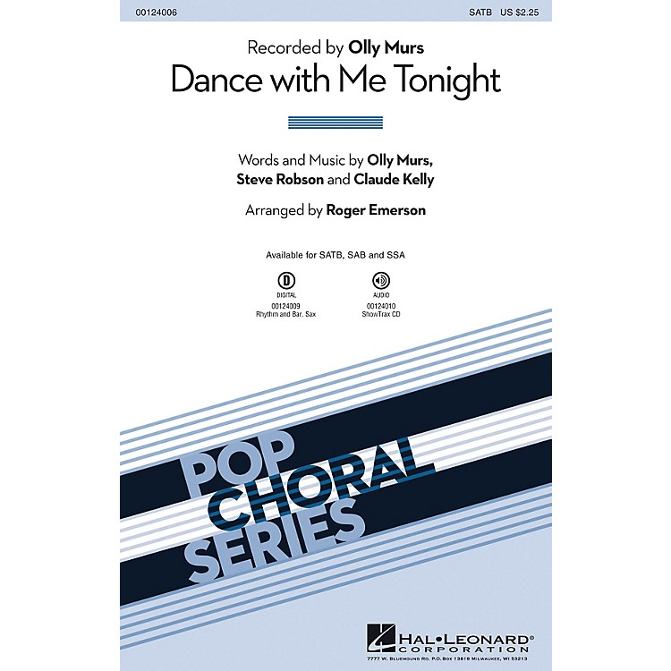 Hal LeonardDance with Me Tonight SAB by Olly Murs Arranged by Roger Emerson