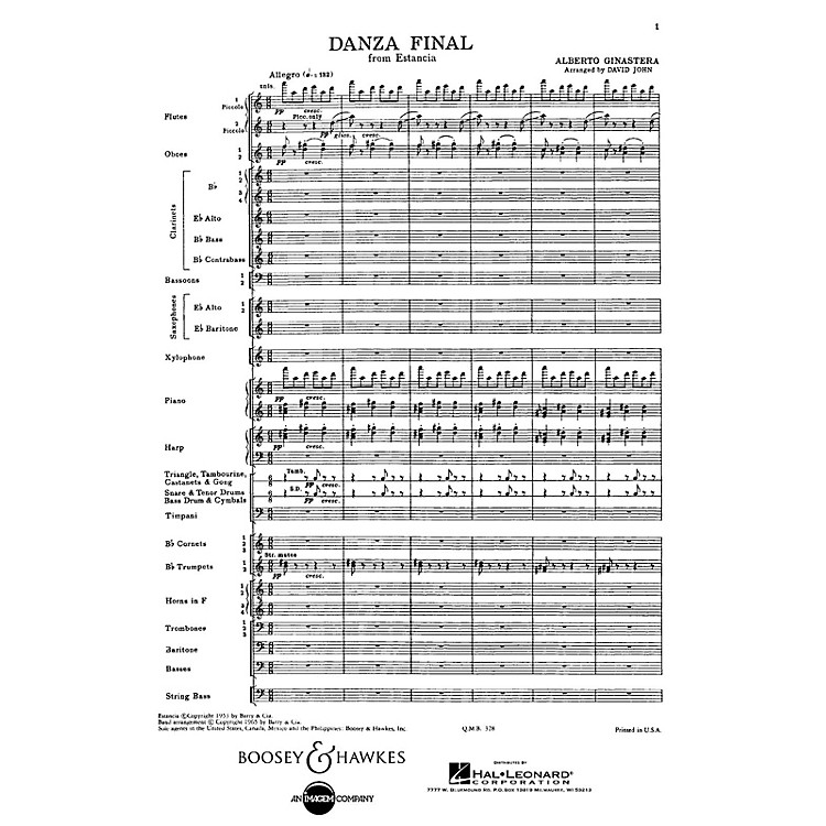 Boosey and HawkesDanza Final (from Estancia) Concert Band Composed by Alberto E. Ginastera Arranged by David John