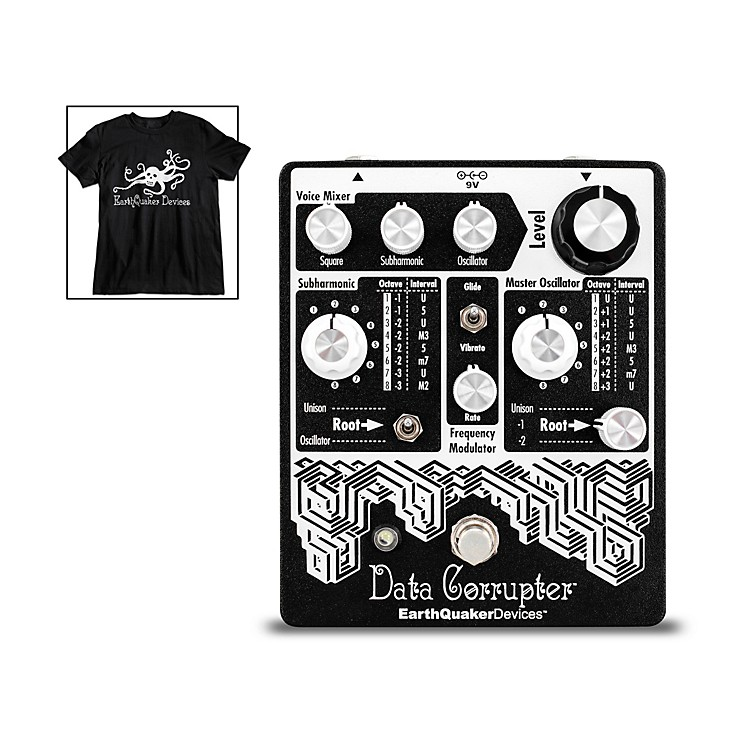 EarthQuaker Devices Data Corrupter Modulated Monophonic Harmonizing PLL Effects Pedal and Octoskull T-Shirt Large Black