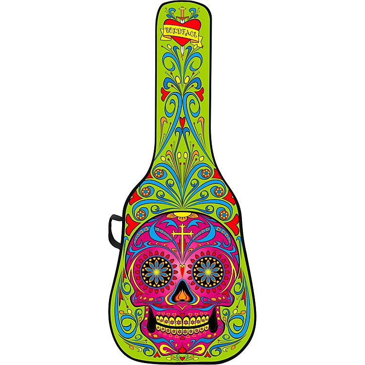 BOLDFACE Day of the Dead Acoustic Guitar Case With Graphic Face Panel Green