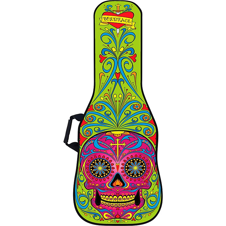 BOLDFACE Day of the Dead Electric Guitar Bag w/ Graphic Face Panel Green
