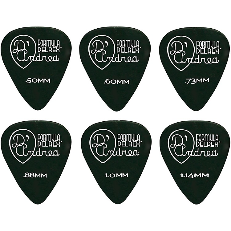 D'Andrea Delrex Delrin Guitar Picks - One Dozen Black 1.0 mm