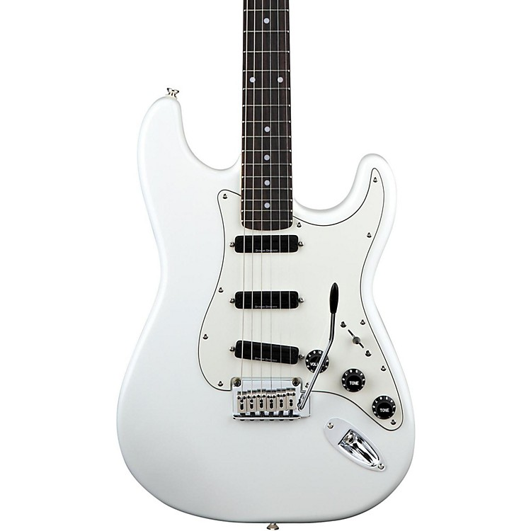 Squier Deluxe Hot Rails Strat Electric Guitar Olympic White