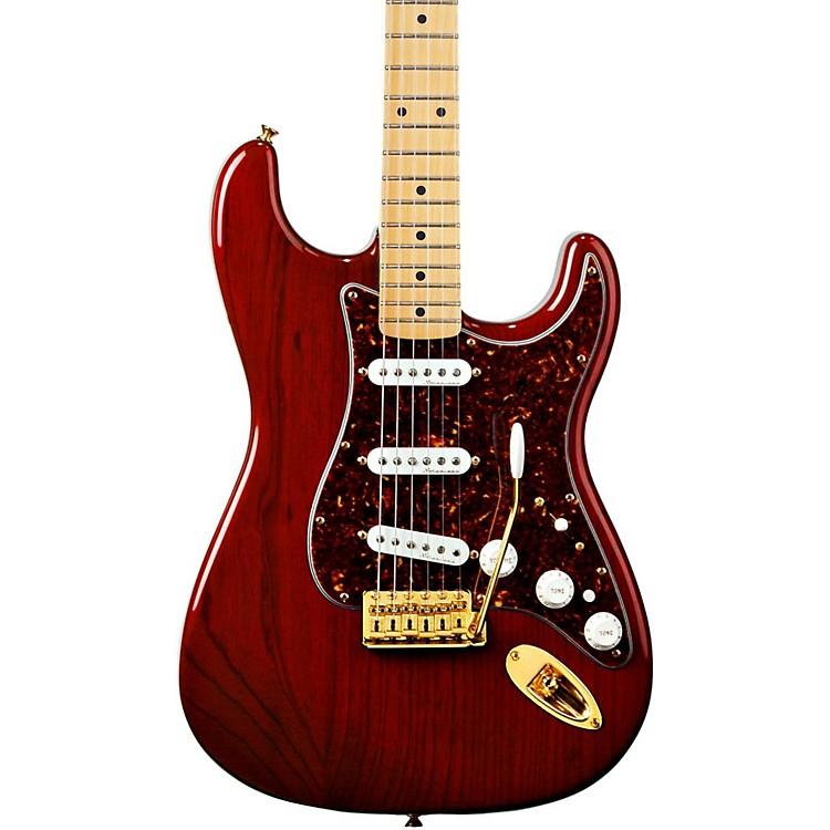 FenderDeluxe Players Stratocaster Electric GuitarTransparent Crimson RedMaple Fretboard