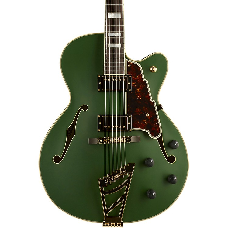 D'AngelicoDeluxe Series DH Hollowbody Electric Guitar with Custom Seymour Duncan Pickups and Stairstep TailpieceMatte EmeraldTortoise Pickguard