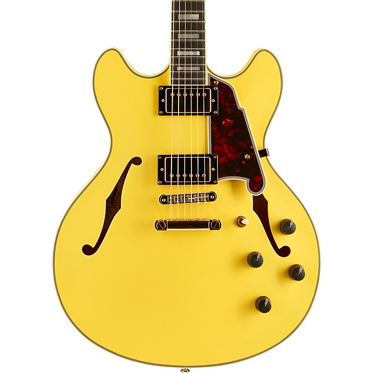 D'Angelico Deluxe Series Limited Edition DC Hollowbody Ebony Fingerboard Electric Guitar Electric Yellow