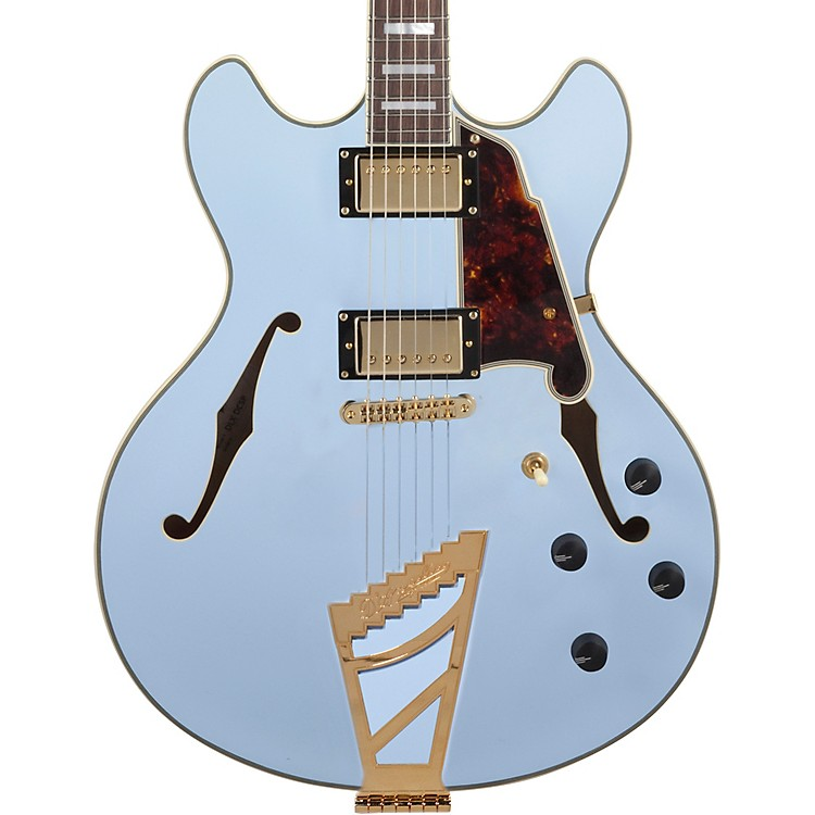 D'Angelico Deluxe Series Limited Edition DC Semi-Hollowbody Electric Guitar Matte Powder Blue Tortoise Pickguard