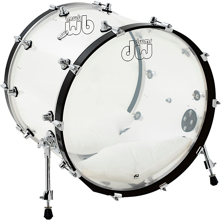 DWDesign Series Acrylic Bass Drum with Chrome Hardware22 x 18 in.Clear