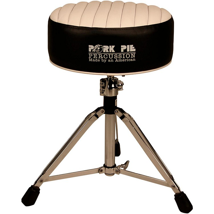 Pork Pie Deuce Tuck and Roll Round Drum Throne Black with White Top