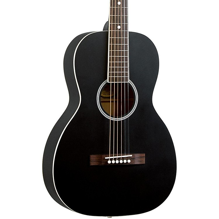 Recording King Dirty Thirties Solid Top Single O Parlor Acoustic Guitar Black