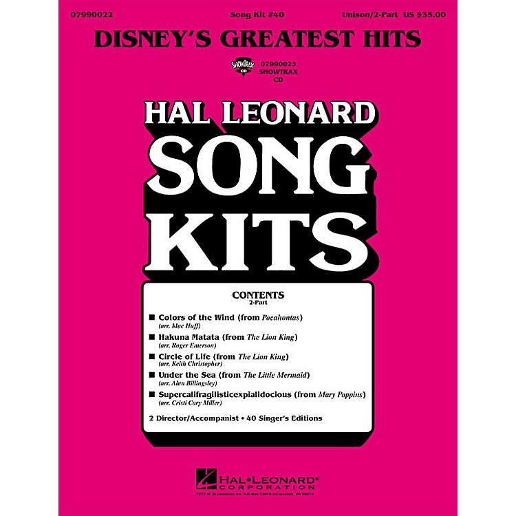 Hal Leonard Disney's Greatest Hits (Song Kit #40) ShowTrax CD Arranged by Keith Christopher