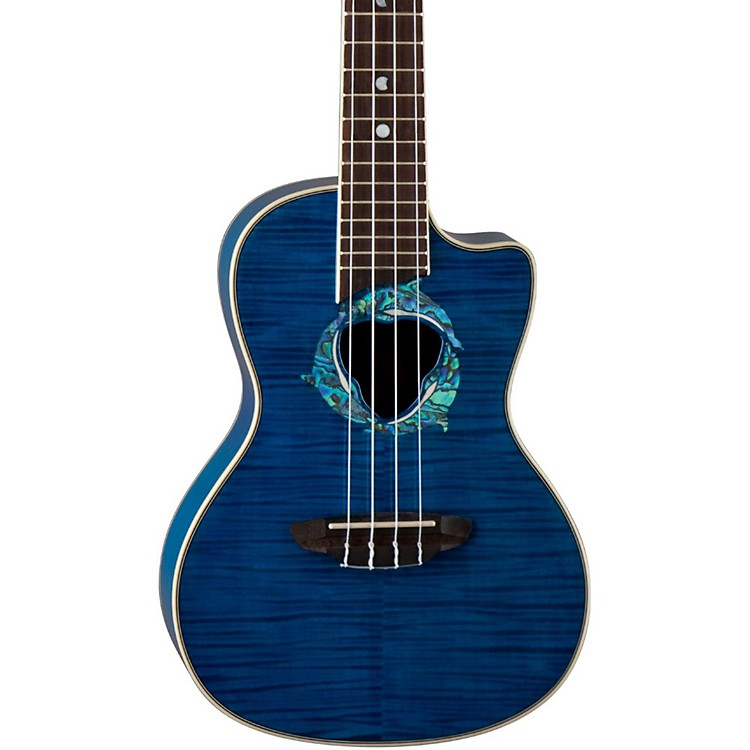 Luna Guitars Dolphin Concert Acoustic-Electric Ukulele Transparent Blue Flame Maple