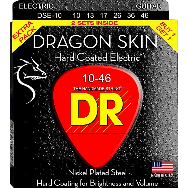 DR Strings Dragon Skin (2 Pack) Medium Coated Electric Guitar Strings (10-46)