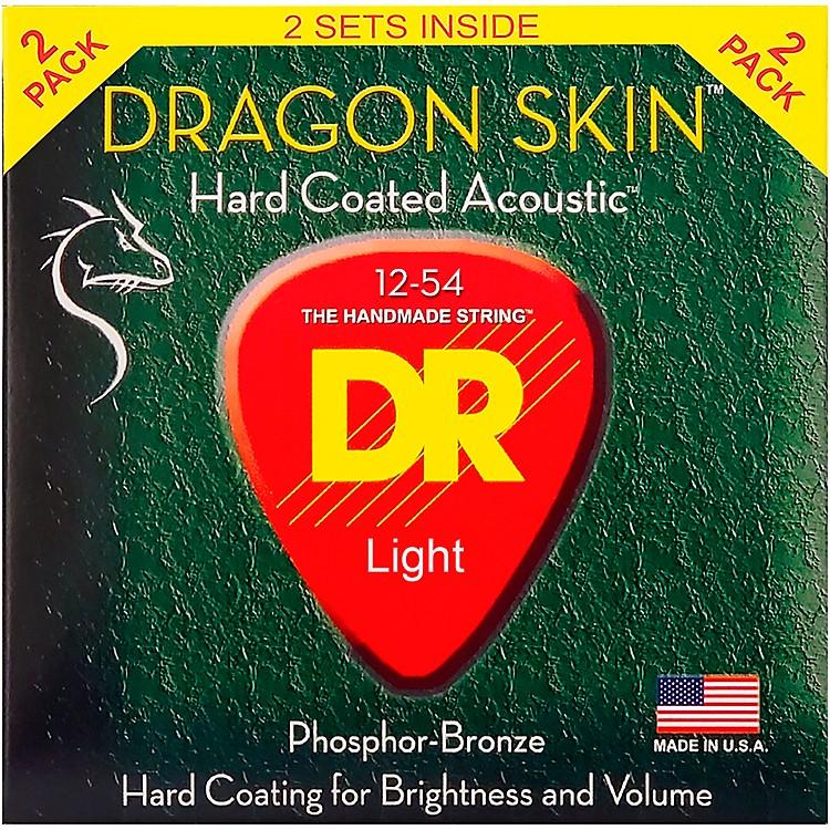 DR StringsDragon Skin Clear Coated Phosphor Bronze Medium Acoustic Guitar Strings (12-54) 2 Pack