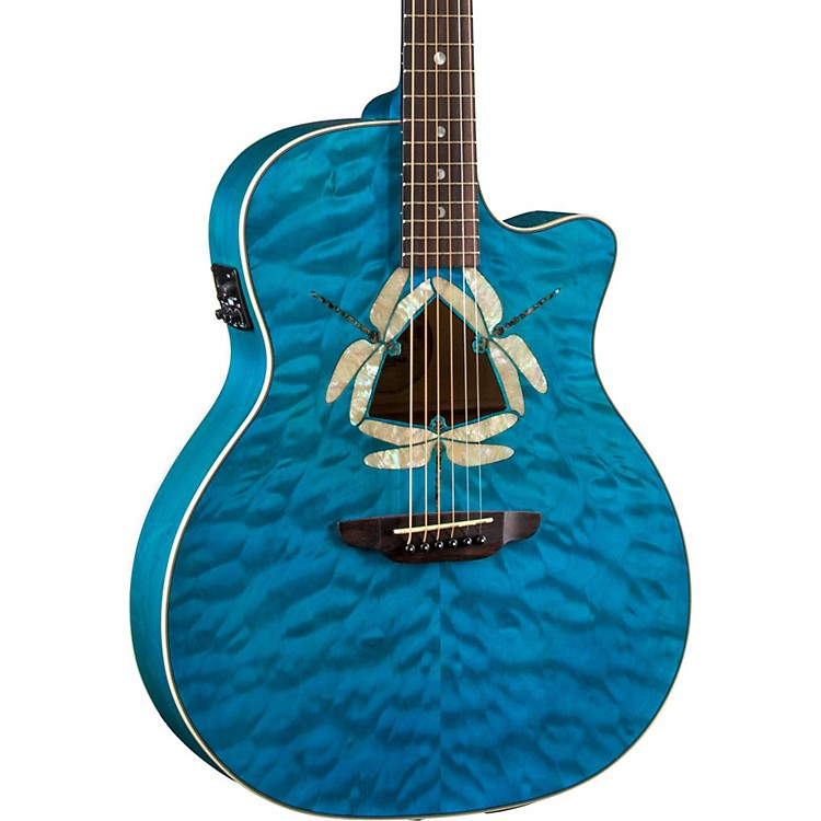 Luna Guitars Dragonfky Quited Maple Acoustic-Electric Guitar Transparent Teal