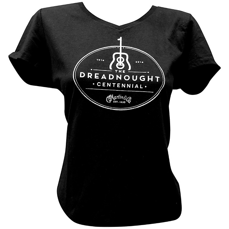 MartinDreadnought Centennial V-Neck Ladies T-ShirtMediumBlack