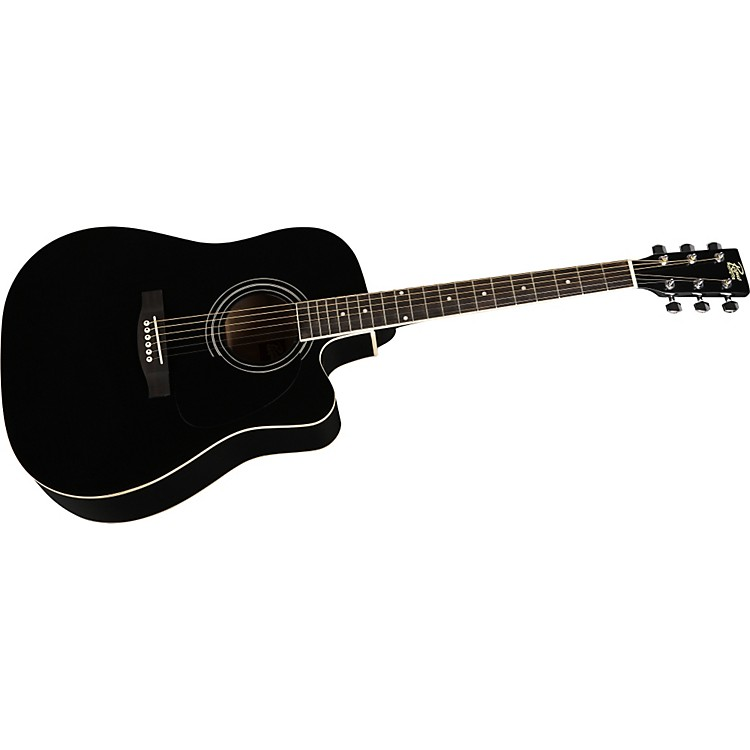 Rogue Dreadnought Cutaway Acoustic-Electric Guitar Black
