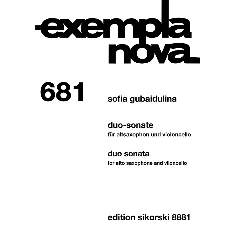 Sikorski Duo Sonata Alto Saxophone and Cello (Exempla Nova 681) Score & Parts by Gubaidulina