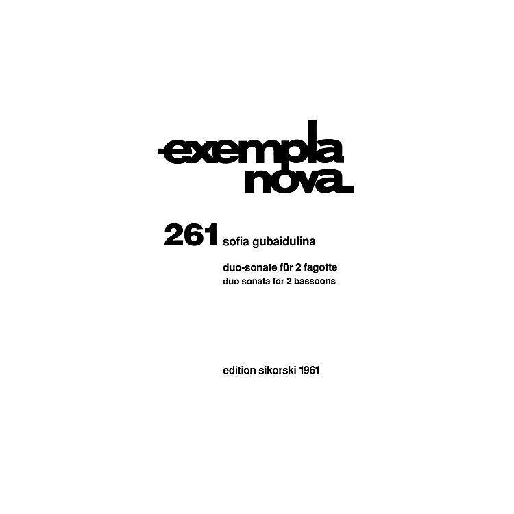 SikorskiDuo Sonata for Two Bassoons (Score and Parts) Woodwind Ensemble Series Composed by Sofia Gubaidulina