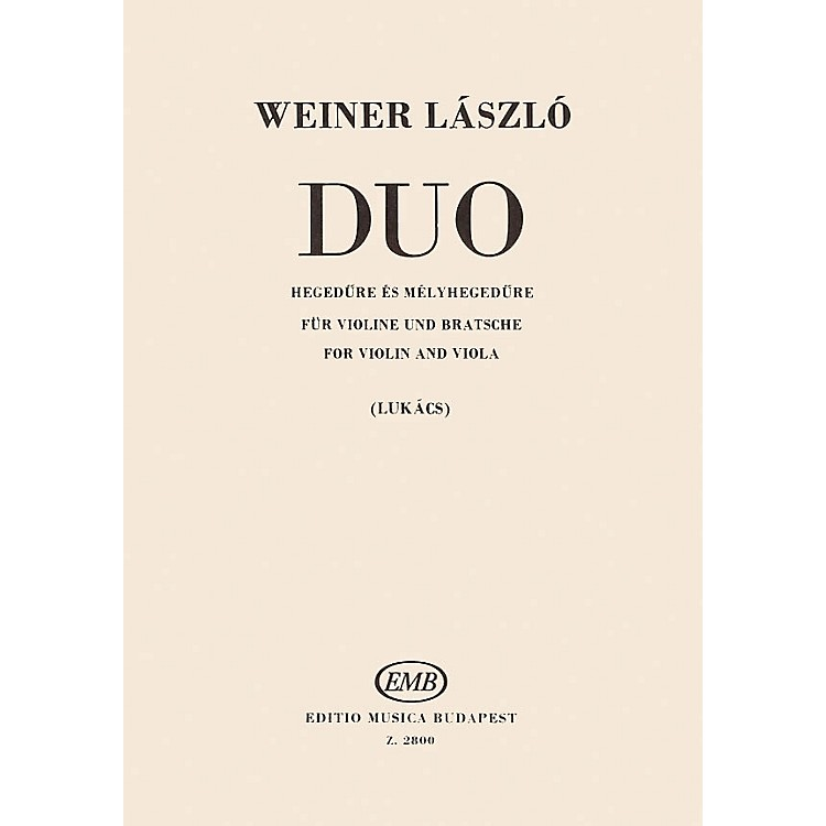 Editio Musica BudapestDuo for Violin and Viola EMB Series Softcover Composed by László Weiner