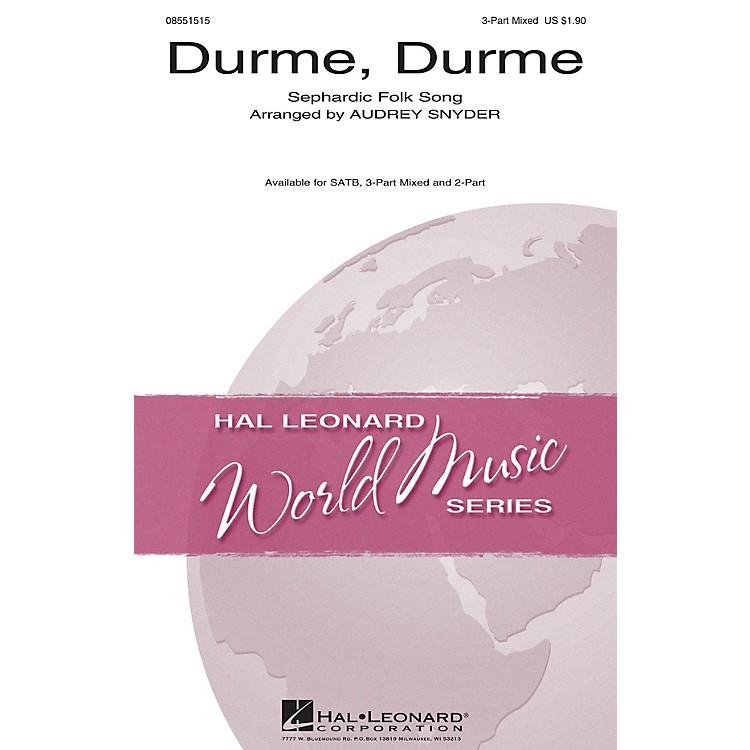 Hal LeonardDurme, Durme 3-Part Mixed arranged by Audrey Snyder