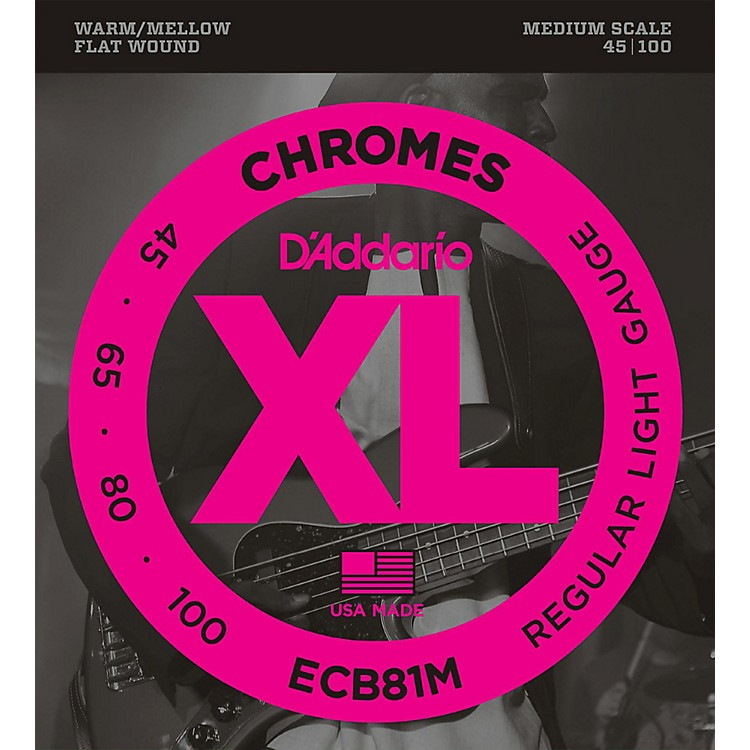 D'Addario ECB81M Chromes Flat Wound Electric Bass Strings Light Medium Scale