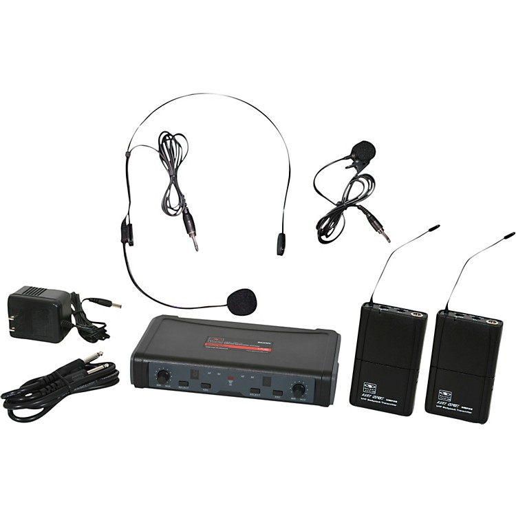 Galaxy Audio ECD Dual Channel UHF Wireless System with One Lapel and One Headset Microphone Band D