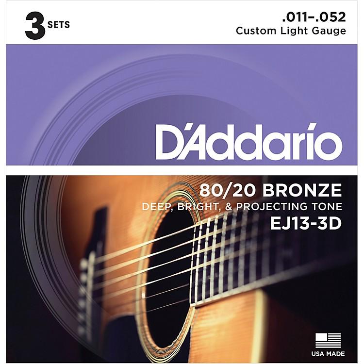 D'AddarioEJ13-3D 80/20 Bronze Custom Light Acoustic Guitar Strings 3-Pack